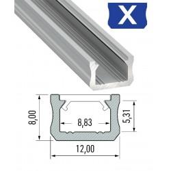 Profil X slim do taśmy LED 1mb z kloszem